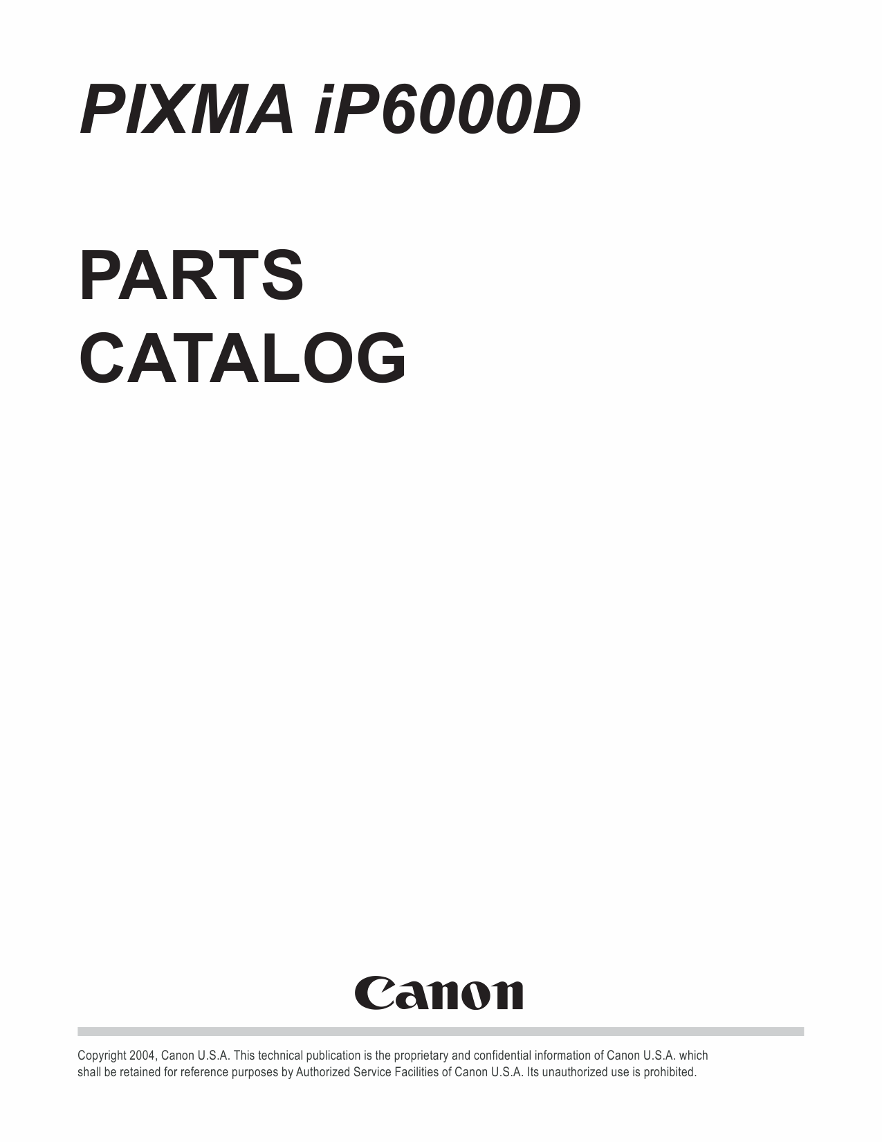 Canon PIXMA iP6000D Parts Catalog Manual